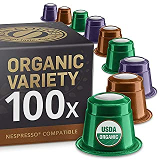 Organic Variety Pack: 100 Nespresso Compatible Capsules. Organic Fairtrade Pods