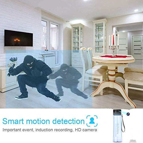 Hidden Spy Camera, Full HD Water Bottle Portable Camera, Video Recorder Support Motion Detection for Home, Office-No WiFi Needed (Blue)