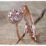 Zhiwen Fashion Elegant Women 18K Rose Gold Filled Morganite Pink Gemstone Wedding Bridal Ring Set(Size 6-10) (US Code 8)
