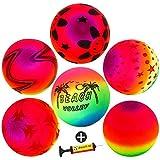 9'' Playground Rainbow Ball With 1pcs Pump (6 pack),FunsLane Inflatable Dodge Ball Sport Balls Rubber Play Ball Handball for Kids Outdoor & Backyard Games, School & Gym Class