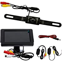 "Car Rear View Camera Lexxson 4.3"" TFT display with 2.4G Wireless Car License Mount Rear View Backup Camera LED Night Vision LHTH002"