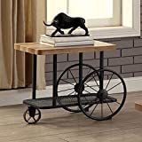 Benzara BM119861 Industrial Design End Table With Wooden Top And Metal Wheels Base, Sand Black