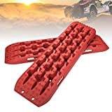 FieryRed Recovery Traction Mat Offroad Red Tracks Sand Snow Tire Ladder 4WD Track, 2 Pack
