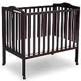 Delta Children Delta Children Folding Portable Mini Baby Crib with Mattress, Dark Espresso, Dark Espresso