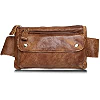 Jonon Unisex Genuine Leather Waist Bag Messenger Fanny Pack Bum Bag For Men Women