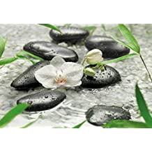 "Wall Mural, Photo Wallpaper PURE 12'1""x8'4"" Feng Shui white orchid stones Water black pebbles"