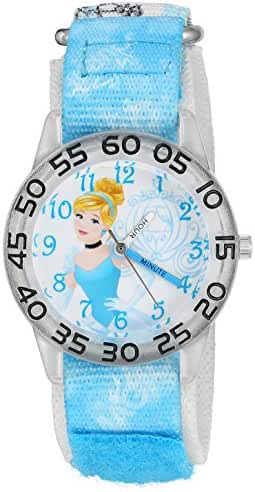 Disney Girl's 'Cinderella' Quartz Plastic and Nylon Automatic Watch, Color:Blue (Model: W002934)