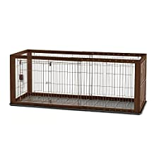 Richell Expandable Pet Crate with Floor Tray Small Brown 37 - 62.2 x 24.6 x 24 by Richell