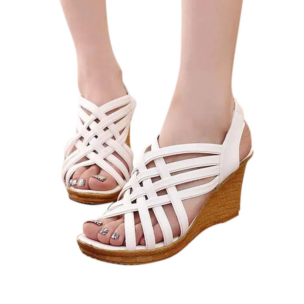 White RGANT Women Cross Straps Wedge Sandals shoes,Soft shoes,Soft