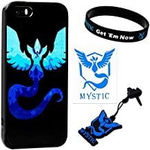 "iPhone SE / 5s / 5 Case w/ Pokemon Go [Team Mystic Theme] Blue (1) + Silicone Bracelet (1) + Audio Plug Charm (1) + 2""Decal"
