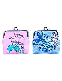 Oyachic 2 Pack PU Coin Purse Kisslock Change Pouch Wallet (Mermaid pink blue)