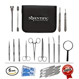 Dissection Kit - Lifetime Guarantee - 20 Piece Set of High Quality and Medical Grade Stainless Steel Tools for Dissecting Frogs - Best for Young & Professional Biology / Anatomy / Botany & Veterinary Students or Teachers with Black Zipper Case
