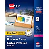 "Avery Clean Edge Business Cards for Laser Printers,  2"" x 3-1/2"", White, Matte Coated, 200 Pack, Rectangle (55871)"