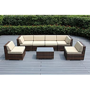 Genuine Ohana Outdoor Patio Sofa Sectional Wicker Furniture Mixed Brown 7pc Couch Set (Sunbrella Beige)