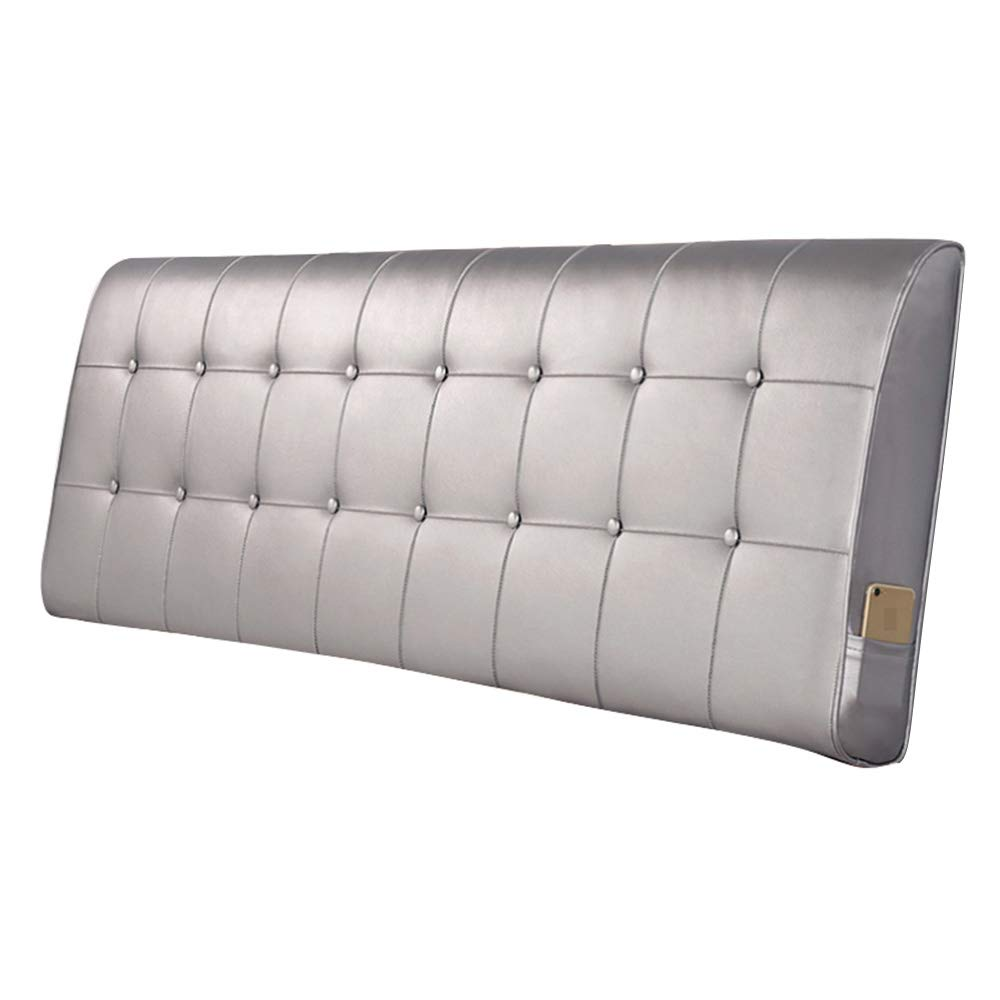 Silver Grey 180×10×60CM Headboard Cushion Double Bed Wedge Backrest Pad Reading Lumbar Pillows Artificial Leather Upholstered Bedside Soft Pack