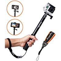 FloatPro Waterproof 3-in-1 Extendable Monopod Selfie Stick with Float Accessories and Wrist Strap