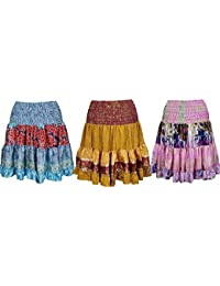 Wholesale Lot Of 3 Womens Ruffle Flare Skirt Vintage Recycled Silk Sari Girl On The Wing Knee Length Skirts