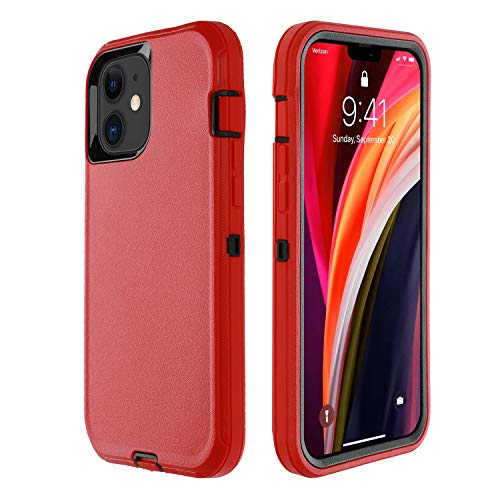 smartelf Compatible with iPhone 12 Mini Case(2020)5.4 inch,Heavy Duty Shockproof Drop Protecton Hybrid Dual Layer Duable Hard Phone Cover-Red/Black