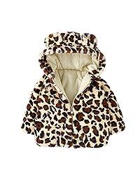 Jarsh Toddler Baby Boy Girl Cartoon Long Sleeve Ears Hoodie Leopard Warm Coat