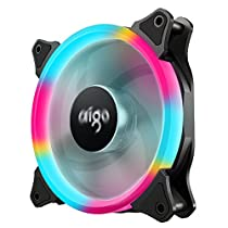 aigo Aurora Colorful LED Ring Case Fan 120mm Quiet High Airflow Cooler Master 4 Pin/3 Pin for Computer Cases CPU Coolers and Radiators