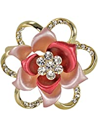 Blooming Rose Flower Crystal Brooch Pin