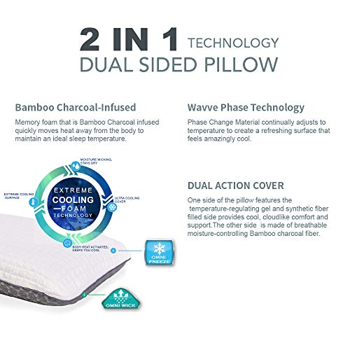 wavve Cooling Pillow Memory Foam Gel Pillow for Sleeping Soft Pillow Bamboo Charcoal Orthopedic Pillow with Two Sided Cover for All Seasons, Standard Size