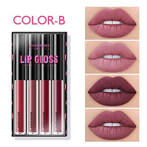 Matte Liquid Lipstick Set Velvet Lipstick Waterproof Long Lasting Lip Gloss Smooth Soft Nude Sexy Lip Glosses Lip Stick Makeup Set for Women Beauty Lip Gloss Cosmetics Set, 1.5ml4 Colors (B)