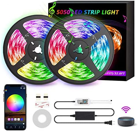 GSBLUNIE Smart WiFi LED Strip Lights,32.8ft RGB Color Changing Light Strips,LED Tape Lights with App Controlled,12V Power Supply,Sync to Music LEDs Lights for Bedroom,TV Backlight, Kitchen,Home