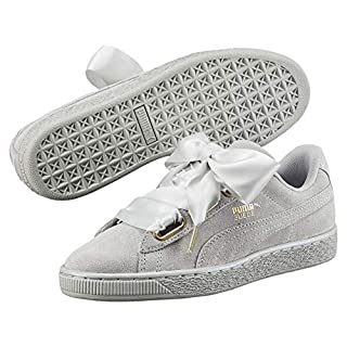 PUMA Womens Grey Violet Suede Heart Satin Trainers-UK 5