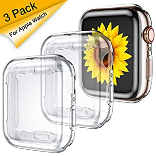 GEAK 3 Pack Compatible with Apple Watch Case 38mm,Soft HD High Sensitivity Screen Protector with TPU All Around Anti-Fall Bumper Protective Case Cover for iWatch Series 3/2/1 38mm(3 Clear)