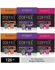 Bestpresso Coffee for Nespresso Original Machine 120 pods Certified Genuine Espresso intense Variety Pack, Pods Compatible with Nespresso Original