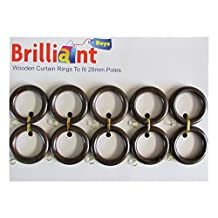10 Pack Of Small Wooden Curtain Rings For 28 Poles - Antique Walnut