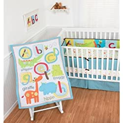 Baby Crib Bedding Set Unisex 4 Piece ABC Animals By Sumersault Giraffe