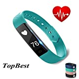 Fitness Tracker ID115 Heart Rate Monitor TopBest Sedentary Call Reminding Remote Self-Timer Sleep QualityCalorie Counter Pedometer Wristband with Touch Screen Smart Bracelet For Android iOS Phone