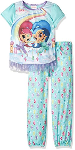 - Nickelodeon Big Girls' Shimmer and Shine Fantasy 2-Piece Pajama Set, Rainbow Gems, 4