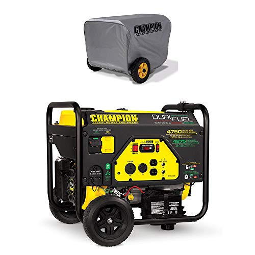 Champion 3800 Watt Portable Generator w/Vinyl Portable Generator Cover, Gray Champion Power Equipment