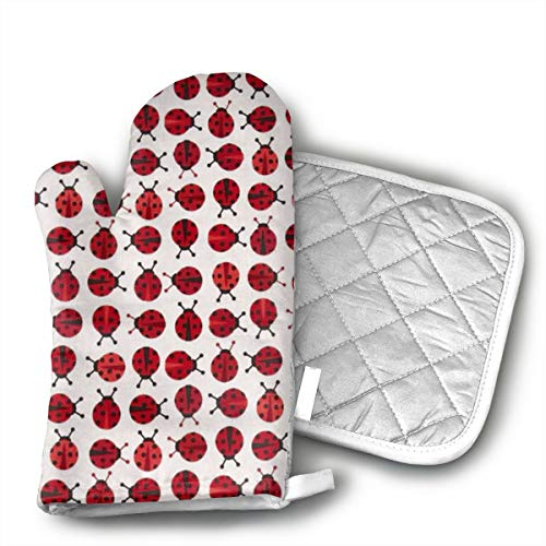 Ruwoi6 Ladybugs Red Oven Mitts Heat Resistant Cooking Gloves Non-Slip Grip Pot Holders for Kitchen Oven, BBQ Grill and Fire Pits Ideal for Cooking. (Oven Mitt Ladybug)