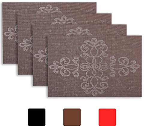 Placemat Set of 4/6 Gothic Style Decor Home Vinyl Woven Dinner Table Placemat Set Home Dinner Decorative Reversible by Secret Life(4, Gothic Brown)