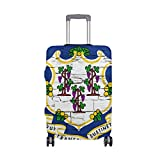 Distressed Connecticut State Flag Travel Luggage Protector Baggage Suitcase Cover Fits 23-26 Inch Luggage