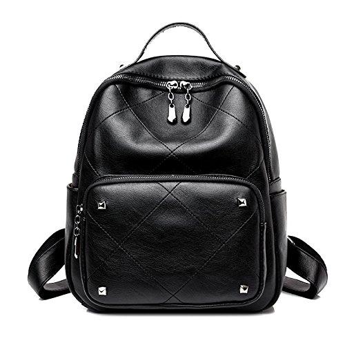 FFCD Lady Pu Rucksack Freizeit Reisen Double Bag Tablet Computer Rucksack Student Tasche black O5jet
