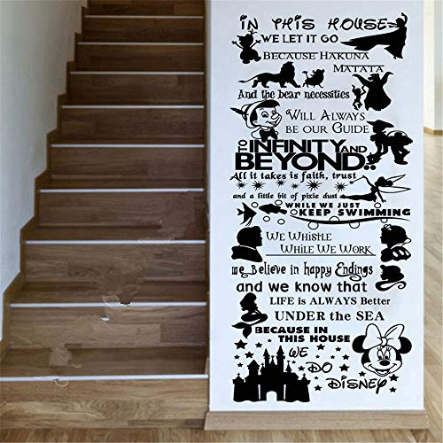 Wall Decal Sticker Cartoon Disney Character Lion King Mickey Minnie in This House We Do Quote Rules Wall Art Stickers Decals Nursery for Kids Rooms Decor