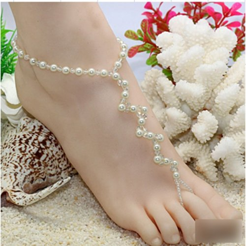 ation Pearl Barefoot Sandal Adorn Extensible Foot Ring Charming Anklet Chain Beach Party Bar ()
