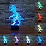 Aneew Novelty Dinosaur 3D LED Optical Illusion Night Light Lamp, 7 Colors Touch Switch Table Desk Atmosphere Lamp for Halloween Christmas Gift Toys Decorations (Dinosaur)