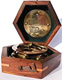 MARINE ART HANDICRAFTS Steampunk for Solid brass Sundial Compass in fitted Wooden Box. C-3052