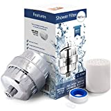 Shower Filter with 2 Replaceable Multi-Stage Filter Cartridges - Removes Chlorine and Harmful Substances - Prevents Hair and Skin Dryness - Free Teflon Tape - Universal Output, Chrome