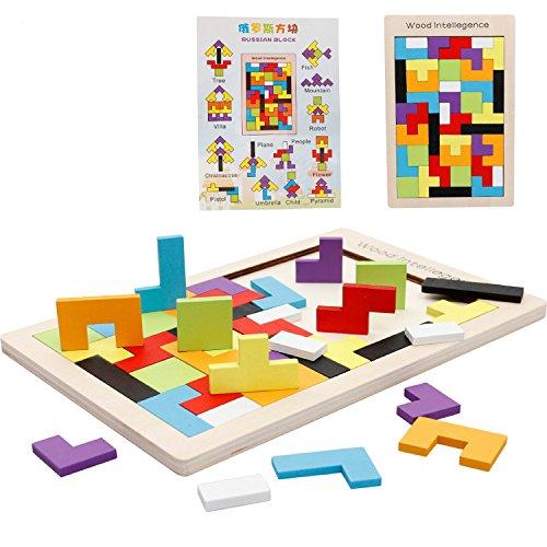 Wooden Blocks Colorful Tetris Puzzle Blocks Game Educational With Storage Board 40 Pcs Color Random