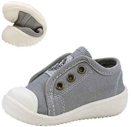 ANYUETE Boys and Girls Kids Canvas Sneakers Casual Slip on Walking Shoes Grey Toddler Size 4