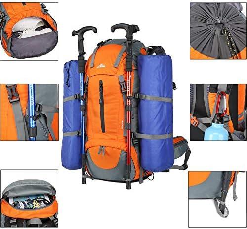 Lukasa Mochila de Senderismo 50L con Cubierta Impermeable Deportes al Aire Libre Bolsa para Caminatas Adecuada para Caminatas Acampadas Mochila Trekking al Aire Libre