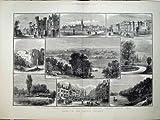 Print 1882 Reading Forbury Gardens Abbey Grammar School Art 587TN152