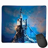 Mouse pad Wrist Support Sparkle,Fantasy Ancient Old Castle on a Rocky Hill Top